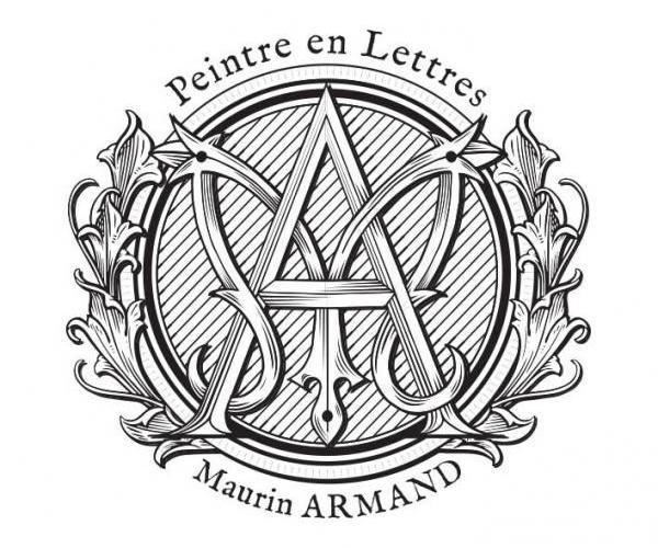 Lettres peintes à la main & feuilles d'or - Maurin Armand